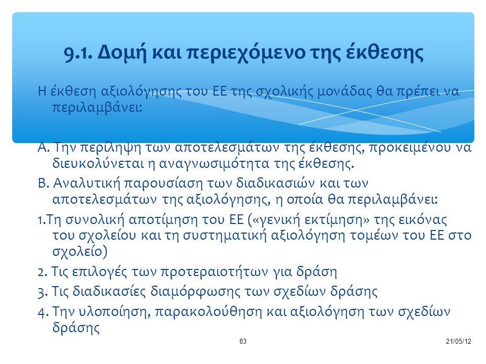 21/05/1283 Η έκθεση αξιολόγησης του ΕΕ της σχολικής μονάδας θα πρέπει να περιλαμβάνει: Α. Την περίληψη των αποτελεσμάτων της έκθεσης, προκειμένου να δ