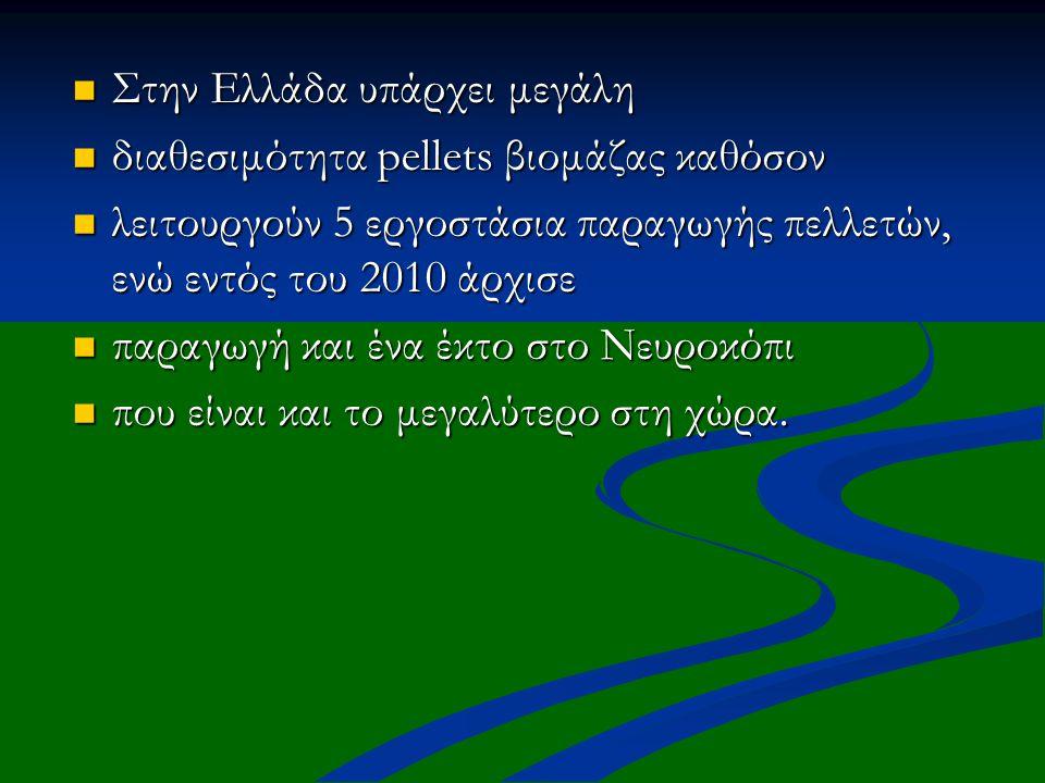 Στην Ελλάδα υπάρχει μεγάλη Στην Ελλάδα υπάρχει μεγάλη διαθεσιμότητα pellets βιομάζας καθόσον διαθεσιμότητα pellets βιομάζας καθόσον λειτουργούν 5 εργο