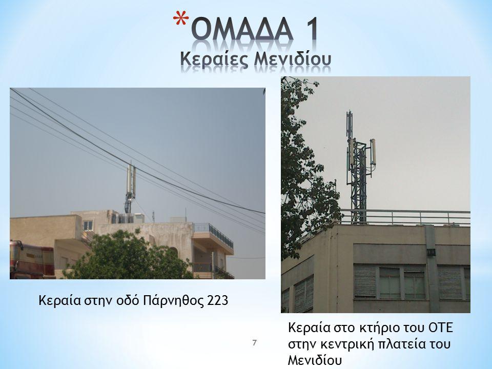 7 Κεραία στην οδό Πάρνηθος 223 Κεραία στο κτήριο του ΟΤΕ στην κεντρική πλατεία του Μενιδίου