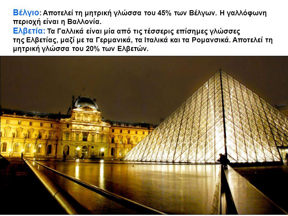 Βέλγιο : Αποτελεί τη μητρική γλώσσα του 45% των Βέλγων. Η γαλλόφωνη περιοχή είναι η Βαλλονία. Ελβετία: Τα Γαλλικά είναι μία από τις τέσσερις επίσημες