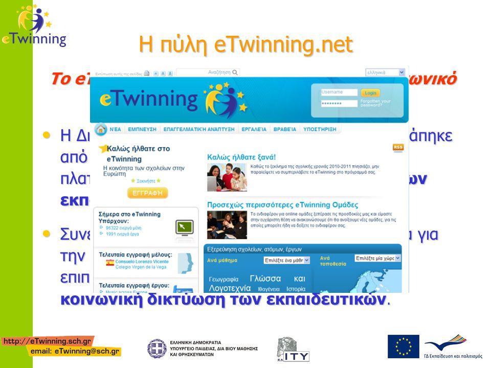 H πύλη eTwinning.net Το eTwinning απέκτησε έναν ξεκάθαρα κοινωνικό προσανατολισμό Η Δικτυακή Πύλη www.etwinning.net μετατράπηκε από μία πύλη που βασίζ