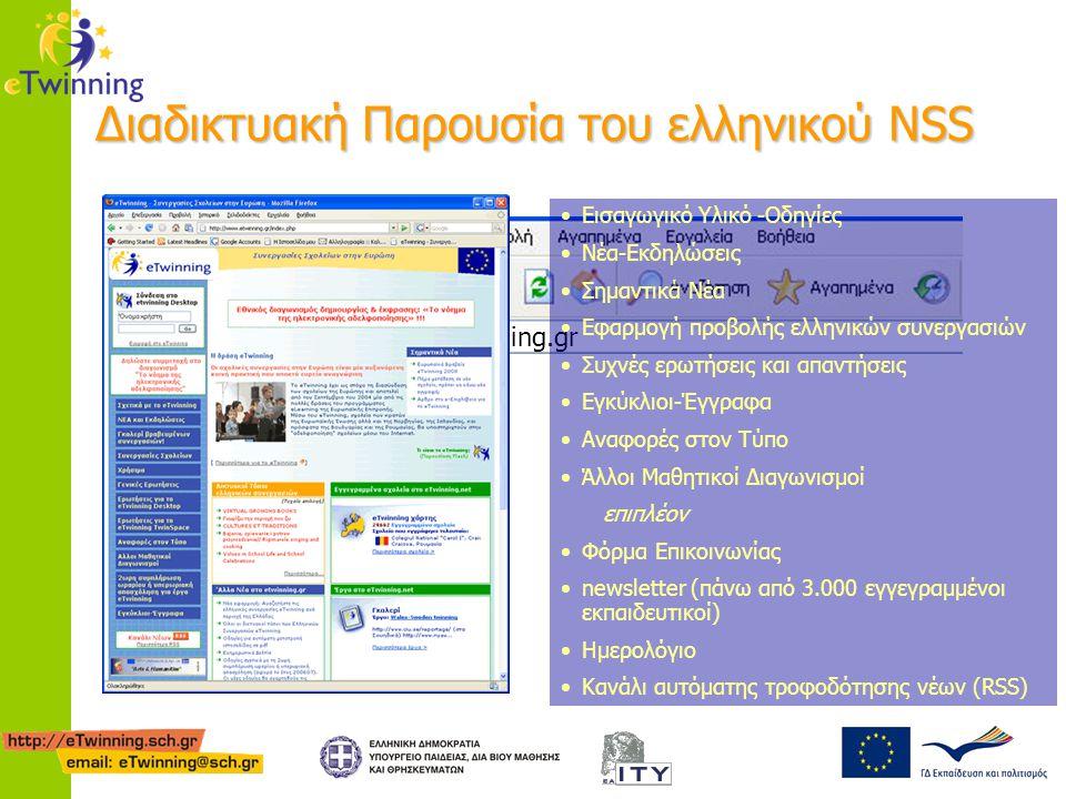 Διαδικτυακή Παρουσία του ελληνικού NSS www.etwinning.gr Εισαγωγικό Υλικό -Οδηγίες Νέα-Εκδηλώσεις Σημαντικά Νέα Εφαρμογή προβολής ελληνικών συνεργασιών