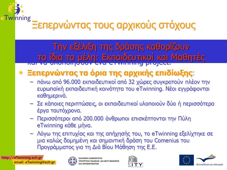 Συνέργεια με τις υπόλοιπες δράσεις Comenius To eTwinning αποτελεί πλέον επίσημο δίκτυο για την εξεύρεση συνεργατών για Comenius συμπράξεις: To eTwinning αποτελεί πλέον επίσημο δίκτυο για την εξεύρεση συνεργατών για Comenius συμπράξεις: http://ec.europa.eu/education/programmes/llp/comenius/call_en.html Πλέον τα eTwinning μέλη δηλώνουν στο προφίλ τους τη διαθεσιμότητά τους για υλοποίηση έργου eTwinning ή συνεργασίας Comenius, γνωστοποιώντας έτσι στα υπόλοιπα μέλη τι ακριβώς αναζητούν Πλέον τα eTwinning μέλη δηλώνουν στο προφίλ τους τη διαθεσιμότητά τους για υλοποίηση έργου eTwinning ή συνεργασίας Comenius, γνωστοποιώντας έτσι στα υπόλοιπα μέλη τι ακριβώς αναζητούν