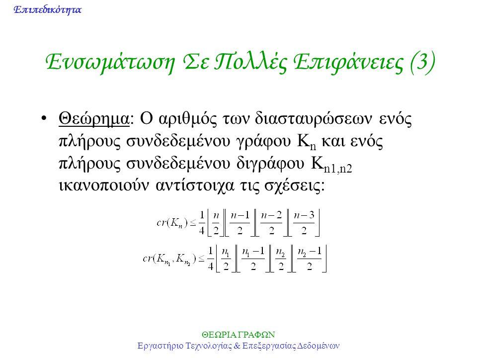 Επιπεδικότητα ΘΕΩΡΙΑ ΓΡΑΦΩΝ Εργαστήριο Τεχνολογίας & Επεξεργασίας Δεδομένων Ενσωμάτωση Σε Πολλές Επιφάνειες (3) Θεώρημα: Ο αριθμός των διασταυρώσεων ε