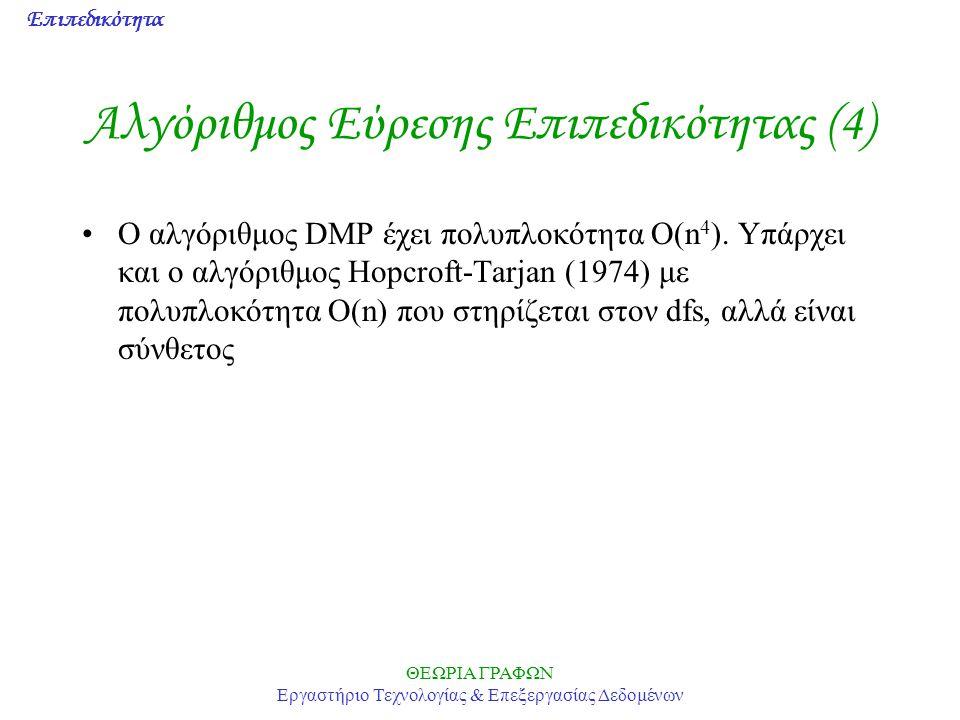 Επιπεδικότητα ΘΕΩΡΙΑ ΓΡΑΦΩΝ Εργαστήριο Τεχνολογίας & Επεξεργασίας Δεδομένων Αλγόριθμος Εύρεσης Επιπεδικότητας (4) Ο αλγόριθμος DMP έχει πολυπλοκότητα