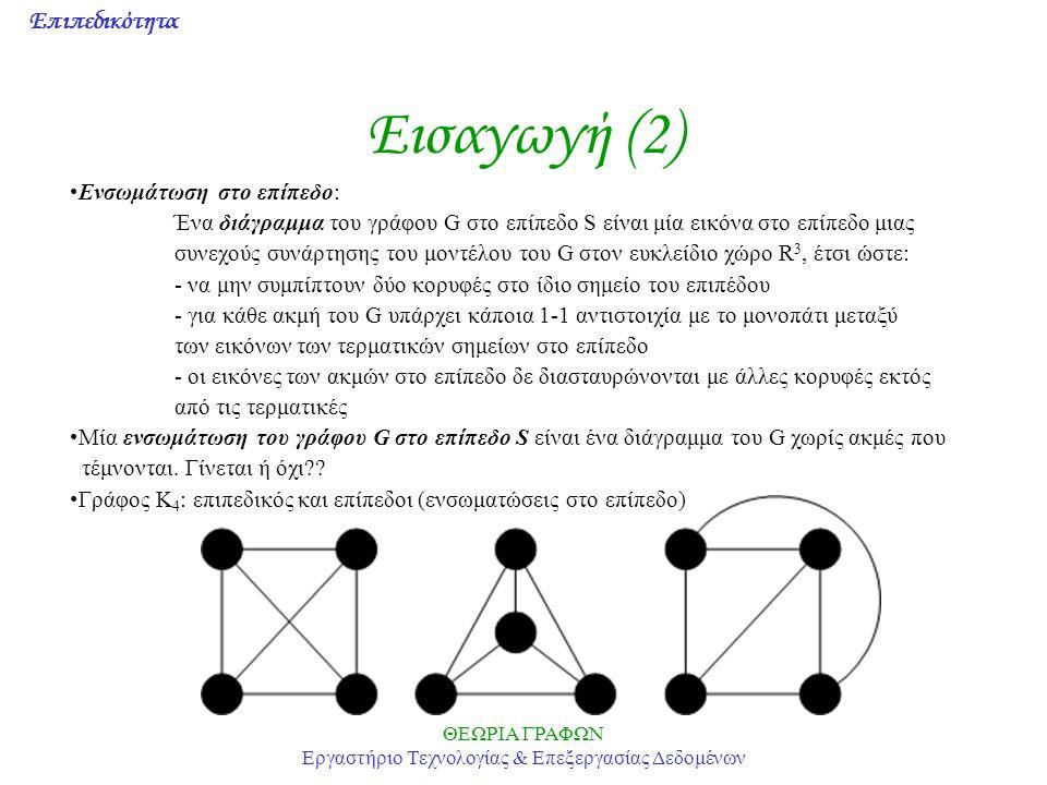 Επιπεδικότητα ΘΕΩΡΙΑ ΓΡΑΦΩΝ Εργαστήριο Τεχνολογίας & Επεξεργασίας Δεδομένων Εισαγωγή (2) Ενσωμάτωση στο επίπεδο: Ένα διάγραμμα του γράφου G στο επίπεδ