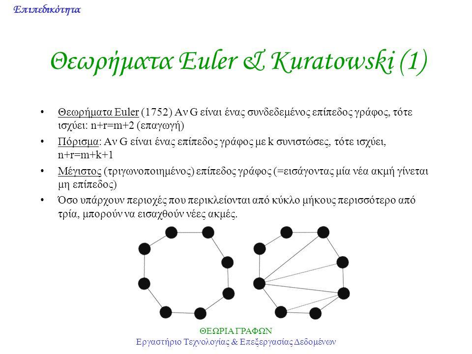 Επιπεδικότητα ΘΕΩΡΙΑ ΓΡΑΦΩΝ Εργαστήριο Τεχνολογίας & Επεξεργασίας Δεδομένων Θεωρήματα Euler & Kuratowski (1) Θεωρήματα Euler (1752) Αν G είναι ένας συ