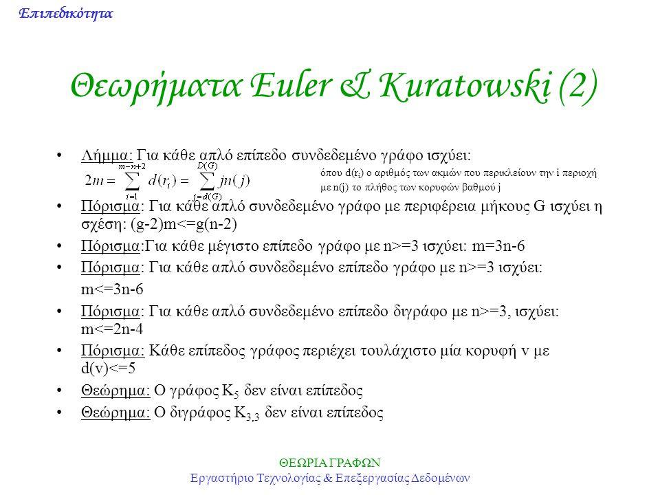 Επιπεδικότητα ΘΕΩΡΙΑ ΓΡΑΦΩΝ Εργαστήριο Τεχνολογίας & Επεξεργασίας Δεδομένων Θεωρήματα Euler & Kuratowski (2) Λήμμα: Για κάθε απλό επίπεδο συνδεδεμένο