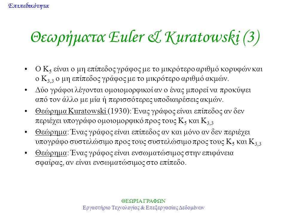 Επιπεδικότητα ΘΕΩΡΙΑ ΓΡΑΦΩΝ Εργαστήριο Τεχνολογίας & Επεξεργασίας Δεδομένων Θεωρήματα Euler & Kuratowski (3) Ο Κ 5 είναι ο μη επίπεδος γράφος με το μι