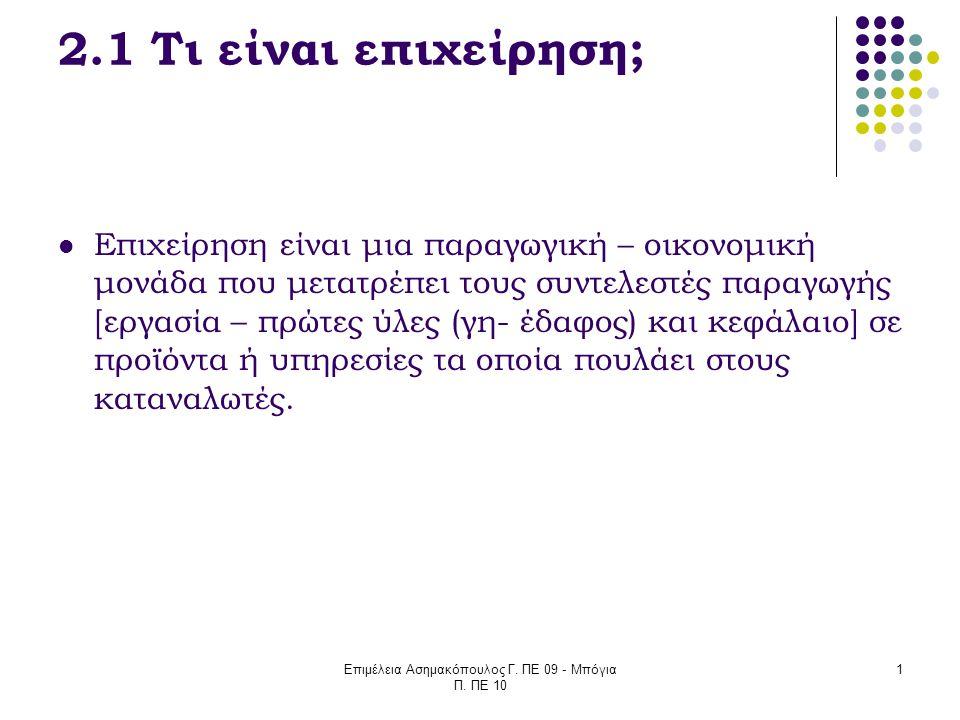 Επιμέλεια Ασημακόπουλος Γ. ΠΕ 09 - Μπόγια Π. ΠΕ 10 1 2.1 Τι είναι επιχείρηση; Επιχείρηση είναι μια παραγωγική – οικονομική μονάδα που μετατρέπει τους