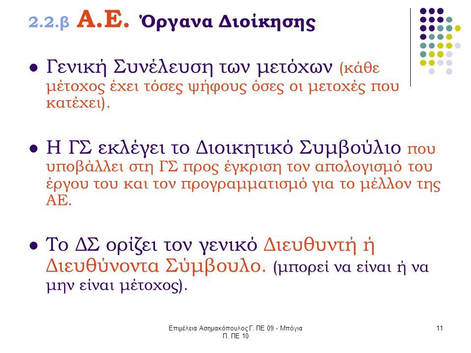 Επιμέλεια Ασημακόπουλος Γ. ΠΕ 09 - Μπόγια Π. ΠΕ 10 11 2.2.β Α.Ε. Όργανα Διοίκησης Γενική Συνέλευση των μετόχων (κάθε μέτοχος έχει τόσες ψήφους όσες οι
