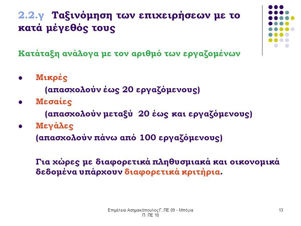 Επιμέλεια Ασημακόπουλος Γ. ΠΕ 09 - Μπόγια Π. ΠΕ 10 13 2.2.γ Ταξινόμηση των επιχειρήσεων με το κατά μέγεθός τους Κατάταξη ανάλογα με τον αριθμό των εργ