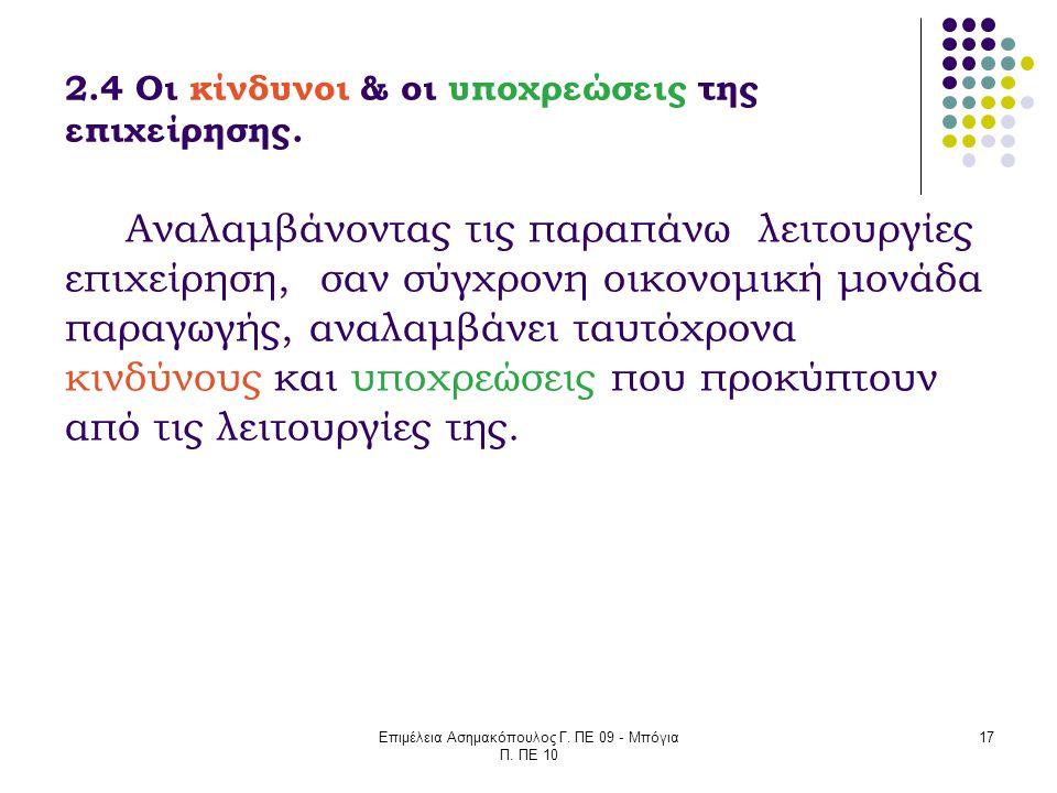 Επιμέλεια Ασημακόπουλος Γ. ΠΕ 09 - Μπόγια Π. ΠΕ 10 17 2.4 Οι κίνδυνοι & οι υποχρεώσεις της επιχείρησης. Αναλαμβάνοντας τις παραπάνω λειτουργίες επιχεί