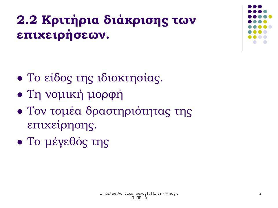 Επιμέλεια Ασημακόπουλος Γ. ΠΕ 09 - Μπόγια Π. ΠΕ 10 2 2.2 Κριτήρια διάκρισης των επιχειρήσεων. Το είδος της ιδιοκτησίας. Τη νομική μορφή Τον τομέα δρασ