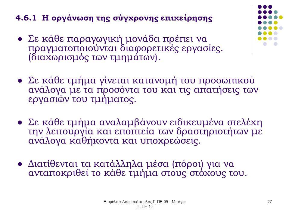 Επιμέλεια Ασημακόπουλος Γ. ΠΕ 09 - Μπόγια Π. ΠΕ 10 27 4.6.1 Η οργάνωση της σύγχρονης επιχείρησης Σε κάθε παραγωγική μονάδα πρέπει να πραγματοποιούνται