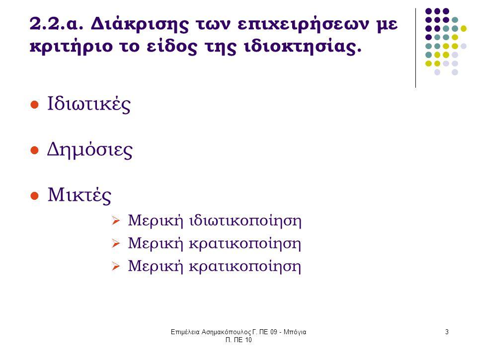 Επιμέλεια Ασημακόπουλος Γ. ΠΕ 09 - Μπόγια Π. ΠΕ 10 3 2.2.α. Διάκρισης των επιχειρήσεων με κριτήριο το είδος της ιδιοκτησίας. Ιδιωτικές Δημόσιες Μικτές