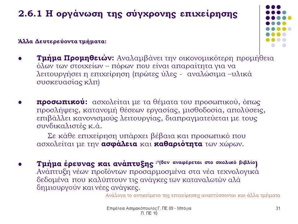 Επιμέλεια Ασημακόπουλος Γ. ΠΕ 09 - Μπόγια Π. ΠΕ 10 31 2.6.1 Η οργάνωση της σύγχρονης επιχείρησης Άλλα Δευτερεύοντα τμήματα: Τμήμα Προμηθειών: Αναλαμβά