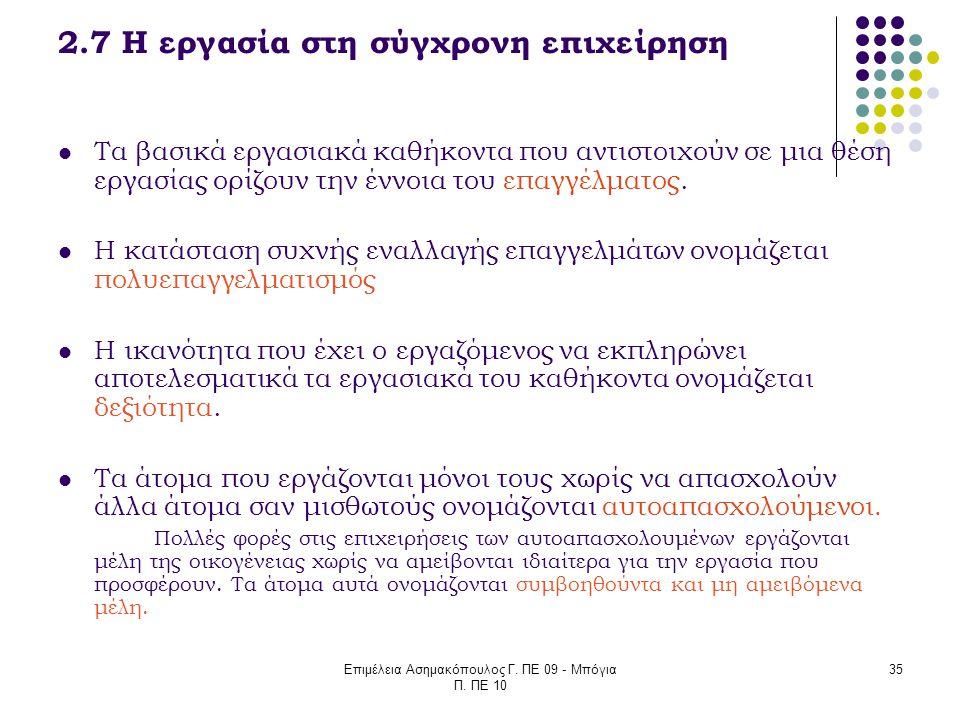 Επιμέλεια Ασημακόπουλος Γ. ΠΕ 09 - Μπόγια Π. ΠΕ 10 35 2.7 Η εργασία στη σύγχρονη επιχείρηση Τα βασικά εργασιακά καθήκοντα που αντιστοιχούν σε μια θέση