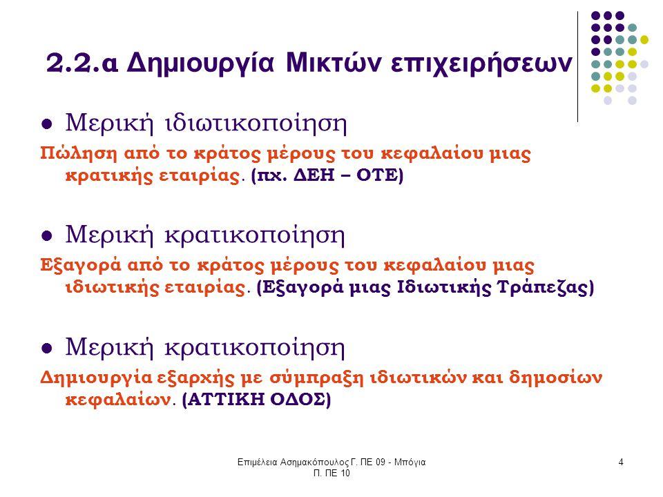 Επιμέλεια Ασημακόπουλος Γ. ΠΕ 09 - Μπόγια Π. ΠΕ 10 4 2.2.α Δημιουργία Μικτών επιχειρήσεων Μερική ιδιωτικοποίηση Πώληση από το κράτος μέρους του κεφαλα