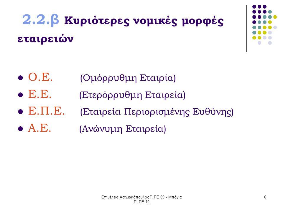 Επιμέλεια Ασημακόπουλος Γ. ΠΕ 09 - Μπόγια Π. ΠΕ 10 6 2.2.β Κυριότερες νομικές μορφές εταιρειών Ο.Ε. (Ομόρρυθμη Εταιρία) Ε.Ε. (Ετερόρρυθμη Εταιρεία) Ε.