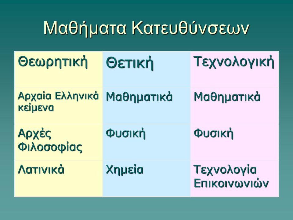 Μαθήματα Κατευθύνσεων ΘεωρητικήΘετικήΤεχνολογική Αρχαία Ελληνικά κείμενα ΜαθηματικάΜαθηματικά Αρχές Φιλοσοφίας ΦυσικήΦυσική ΛατινικάΧημεία Τεχνολογία Επικοινωνιών