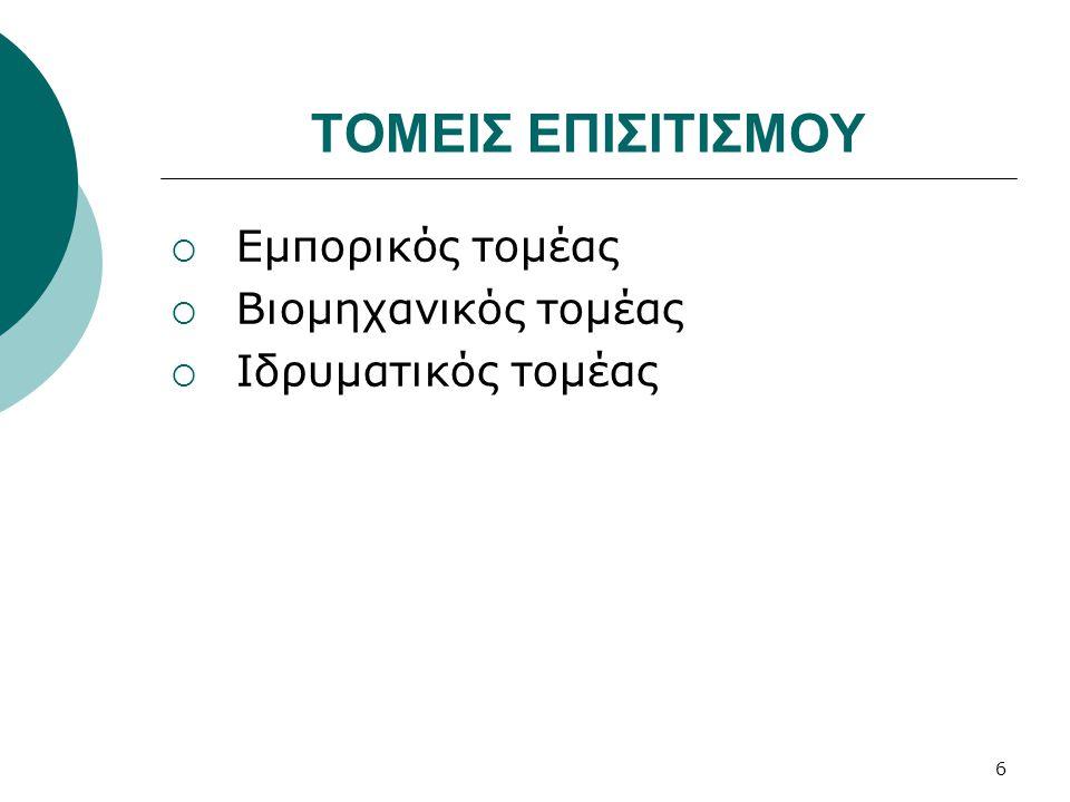 ΤΟΜΕΙΣ ΕΠΙΣΙΤΙΣΜΟΥ  Εμπορικός τομέας  Βιομηχανικός τομέας  Ιδρυματικός τομέας 6