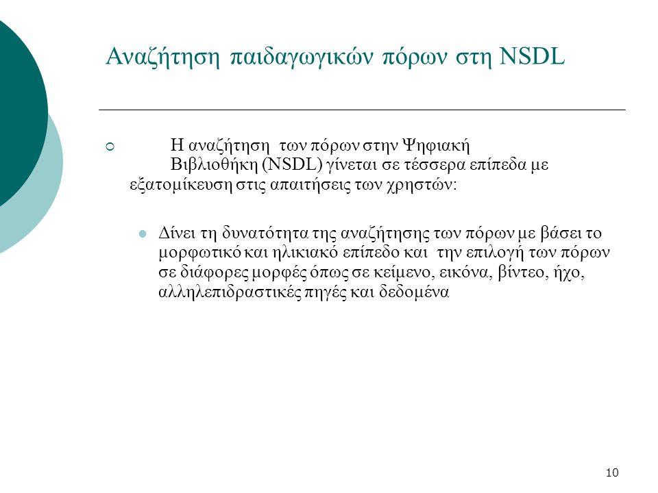 10 Αναζήτηση παιδαγωγικών πόρων στη NSDL  Η αναζήτηση των πόρων στην Ψηφιακή Βιβλιοθήκη (NSDL) γίνεται σε τέσσερα επίπεδα με εξατομίκευση στις απαιτήσεις των χρηστών: Δίνει τη δυνατότητα της αναζήτησης των πόρων με βάσει το μορφωτικό και ηλικιακό επίπεδο και την επιλογή των πόρων σε διάφορες μορφές όπως σε κείμενο, εικόνα, βίντεο, ήχο, αλληλεπιδραστικές πηγές και δεδομένα