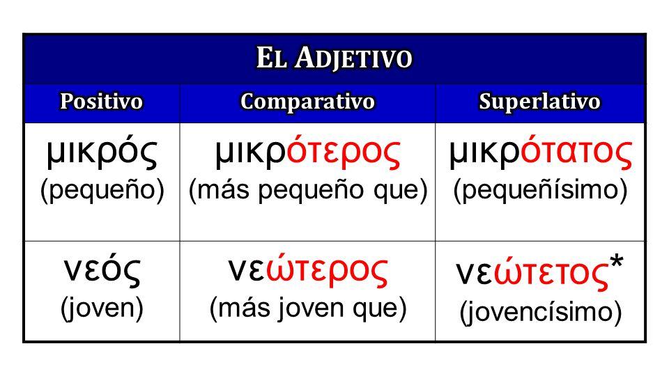 μικρός (pequeño) μικρότερος (más pequeño que) μικρότατος (pequeñísimo) νεός (joven) νεώτερος (más joven que) νεώτετος * (jovencísimo)