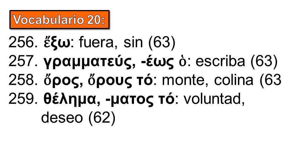256. ἔ ξω: fuera, sin (63) 257. γραμματεύς, -έως ὁ : escriba (63) 258. ὄ ρος, ὄ ρους τό: monte, colina (63) 259. θέλημα, -ματος τό: voluntad, deseo (6