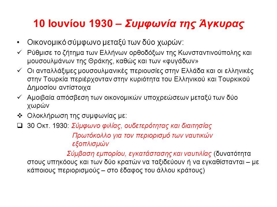 10 Ιουνίου 1930 – Συμφωνία της Άγκυρας Οικονομικό σύμφωνο μεταξύ των δύο χωρών: Ρύθμισε το ζήτημα των Ελλήνων ορθοδόξων της Κωνσταντινούπολης και μουσ