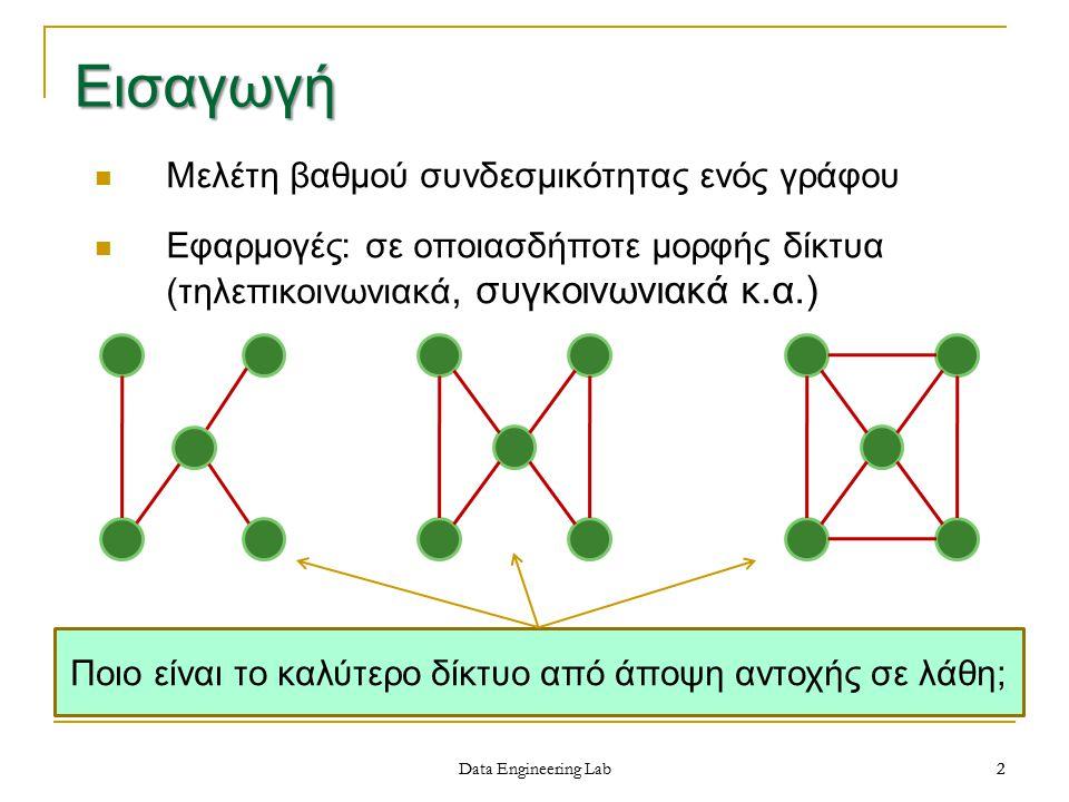 3 Data Engineering Lab Σύνολο αποκοπτουσών κορυφών V΄ (vertex cut set, vertex separating set) ενός συνδεδεμένου γράφου G είναι το σύνολο των κορυφών ώστε ο γράφος G–V΄ να μην είναι συνδεδεμένος και να μην υπάρχει γνήσιο υποσύνολο του V΄ με την ίδια ιδιότητα Συνδεσμικότητα κορυφών (vertex connectivity), VC(G), είναι το ελάχιστο k=|V΄|, ώστε ο γράφος G να είναι συνδεδεμένος αν διαγραφούν λιγότερες από k κορυφές.