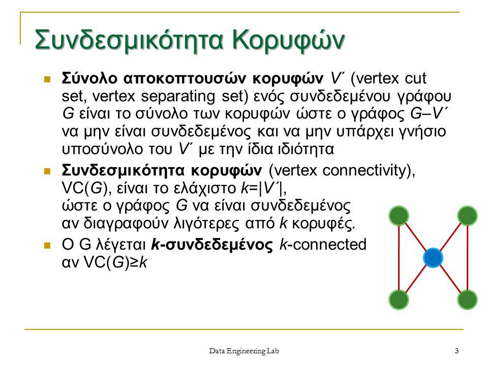3 Data Engineering Lab Σύνολο αποκοπτουσών κορυφών V΄ (vertex cut set, vertex separating set) ενός συνδεδεμένου γράφου G είναι το σύνολο των κορυφών ώστε ο γράφος G–V΄ να μην είναι συνδεδεμένος και να μην υπάρχει γνήσιο υποσύνολο του V΄ με την ίδια ιδιότητα Συνδεσμικότητα κορυφών (vertex connectivity), VC(G), είναι το ελάχιστο k= V΄ , ώστε ο γράφος G να είναι συνδεδεμένος αν διαγραφούν λιγότερες από k κορυφές.