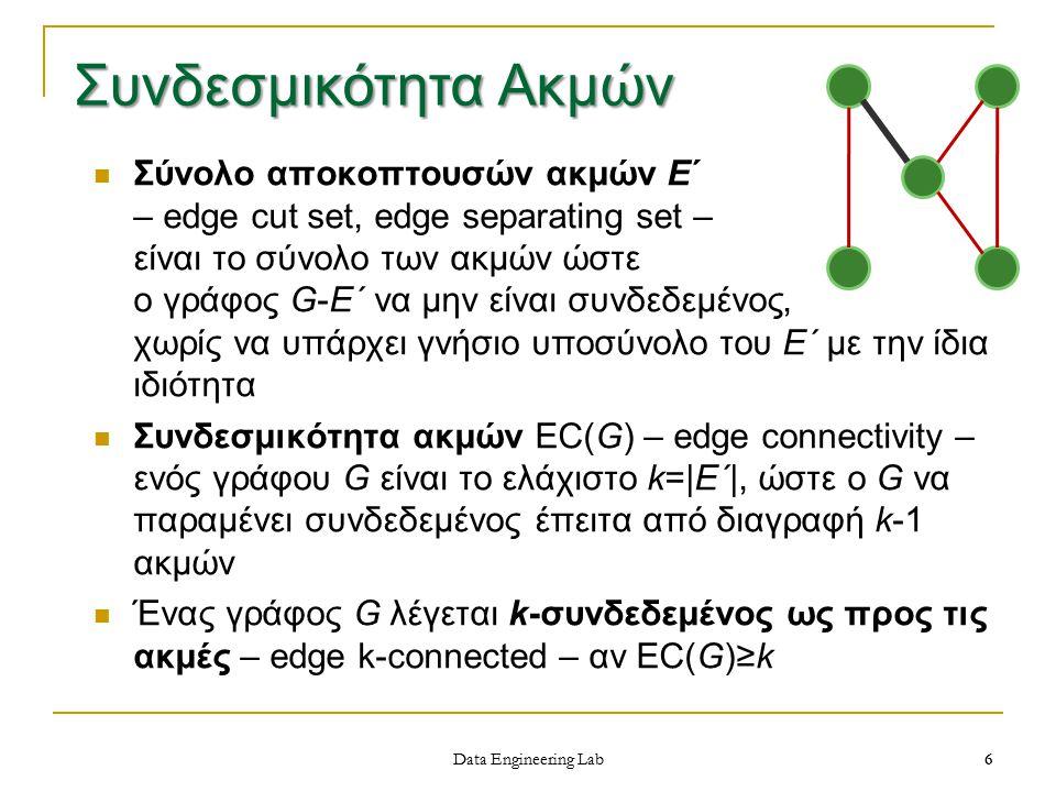 6 Data Engineering Lab Σύνολο αποκοπτουσών ακμών Ε΄ – edge cut set, edge separating set – είναι το σύνολο των ακμών ώστε ο γράφος G-E΄ να μην είναι συνδεδεμένος, χωρίς να υπάρχει γνήσιο υποσύνολο του Ε΄ με την ίδια ιδιότητα Συνδεσμικότητα ακμών EC(G) – edge connectivity – ενός γράφου G είναι το ελάχιστο k= E΄ , ώστε ο G να παραμένει συνδεδεμένος έπειτα από διαγραφή k-1 ακμών Ένας γράφος G λέγεται k-συνδεδεμένος ως προς τις ακμές – edge k-connected – αν EC(G)≥k Συνδεσμικότητα Ακμών 6