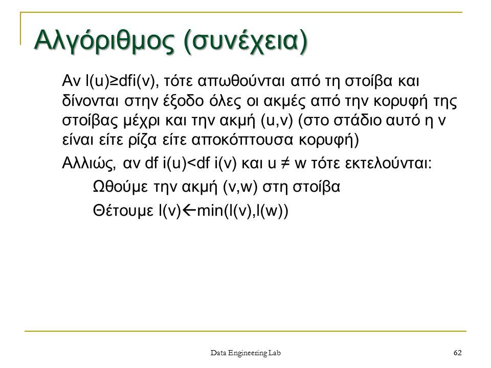 62 Data Engineering Lab Αλγόριθμος (συνέχεια) Αν l(u)≥dfi(v), τότε απωθούνται από τη στοίβα και δίνονται στην έξοδο όλες οι ακμές από την κορυφή της στοίβας μέχρι και την ακμή (u,v) (στο στάδιο αυτό η v είναι είτε ρίζα είτε αποκόπτουσα κορυφή) Αλλιώς, αν df i(u)<df i(v) και u ≠ w τότε εκτελούνται: Ωθούμε την ακμή (v,w) στη στοίβα Θέτουμε l(v)  min(l(v),l(w)) 62
