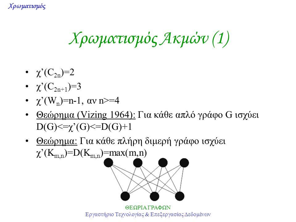 Χρωματισμός ΘΕΩΡΙΑ ΓΡΑΦΩΝ Εργαστήριο Τεχνολογίας & Επεξεργασίας Δεδομένων Χρωματισμός Ακμών (1) χ'(C 2n )=2 χ'(C 2n+1 )=3 χ'(W n )=n-1, αν n>=4 Θεώρημα (Vizing 1964): Για κάθε απλό γράφο G ισχύει D(G)<=χ'(G)<=D(G)+1 Θεώρημα: Για κάθε πλήρη διμερή γράφο ισχύει χ'(K m,n )=D(K m,n )=max(m,n)