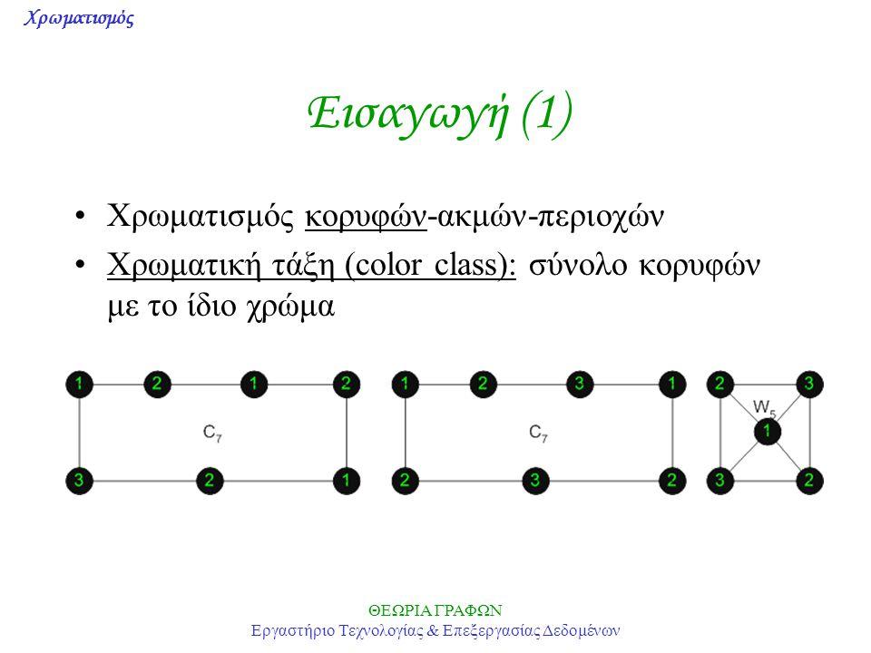 Χρωματισμός ΘΕΩΡΙΑ ΓΡΑΦΩΝ Εργαστήριο Τεχνολογίας & Επεξεργασίας Δεδομένων Χρωματικά Πολυώνυμα (2) Θεώρημα: Έστω γράφος G και δύο μη γειτονικές κορυφές u,w.