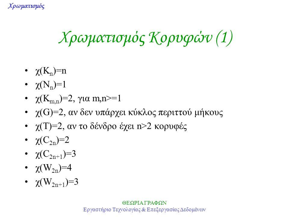 Χρωματισμός ΘΕΩΡΙΑ ΓΡΑΦΩΝ Εργαστήριο Τεχνολογίας & Επεξεργασίας Δεδομένων Χρωματισμός Κορυφών (1) χ(K n )=n χ(Ν n )=1 χ(K m,n )=2, για m,n>=1 χ(G)=2, αν δεν υπάρχει κύκλος περιττού μήκους χ(Τ)=2, αν το δένδρο έχει n>2 κορυφές χ(C 2n )=2 χ(C 2n+1 )=3 χ(W 2n )=4 χ(W 2n+1 )=3