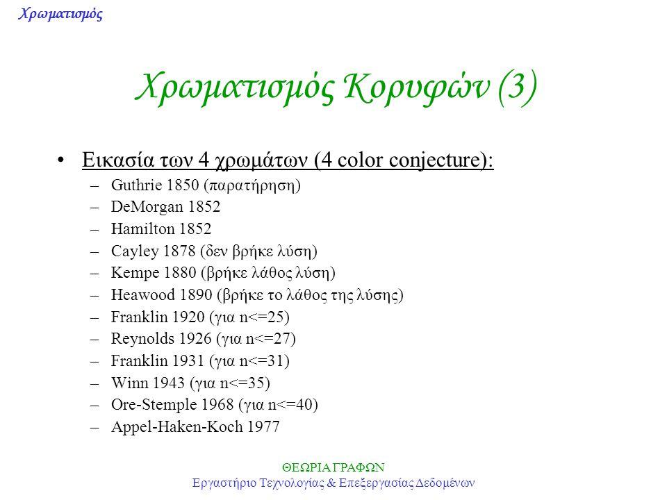 Χρωματισμός ΘΕΩΡΙΑ ΓΡΑΦΩΝ Εργαστήριο Τεχνολογίας & Επεξεργασίας Δεδομένων Χρωματισμός Κορυφών (3) Εικασία των 4 χρωμάτων (4 color conjecture): –Guthrie 1850 (παρατήρηση) –DeMorgan 1852 –Hamilton 1852 –Cayley 1878 (δεν βρήκε λύση) –Kempe 1880 (βρήκε λάθος λύση) –Heawood 1890 (βρήκε το λάθος της λύσης) –Franklin 1920 (για n<=25) –Reynolds 1926 (για n<=27) –Franklin 1931 (για n<=31) –Winn 1943 (για n<=35) –Ore-Stemple 1968 (για n<=40) –Appel-Haken-Koch 1977