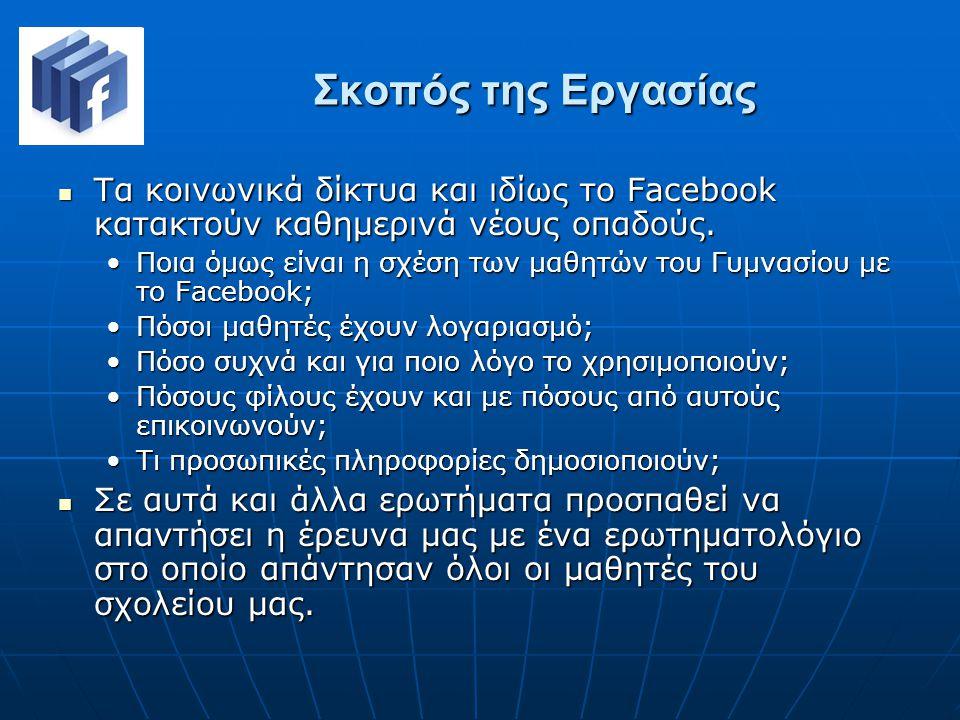 Σκοπός της Εργασίας Τα κοινωνικά δίκτυα και ιδίως το Facebook κατακτούν καθημερινά νέους οπαδούς.