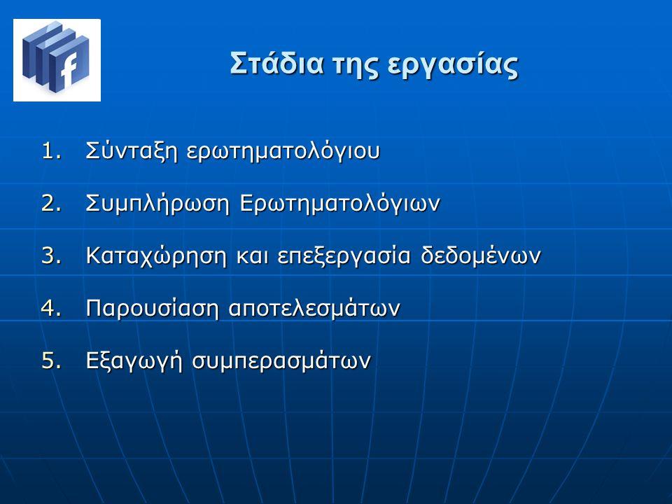 Στάδια της εργασίας 1.Σύνταξη ερωτηματολόγιου 2.Συμπλήρωση Ερωτηματολόγιων 3.Καταχώρηση και επεξεργασία δεδομένων 4.Παρουσίαση αποτελεσμάτων 5.Εξαγωγή συμπερασμάτων