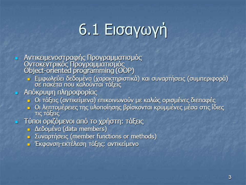 3 6.1 Εισαγωγή Αντικειμενοστραφής Προγραμματισμός Οντοκεντρικός Προγραμματισμός Object-oriented programming (OOP) Αντικειμενοστραφής Προγραμματισμός Οντοκεντρικός Προγραμματισμός Object-oriented programming (OOP) Εμφωλεύει δεδομένα (χαρακτηριστικά) και συναρτήσεις (συμπεριφορά) σε πακέτα που καλούνται τάξεις Εμφωλεύει δεδομένα (χαρακτηριστικά) και συναρτήσεις (συμπεριφορά) σε πακέτα που καλούνται τάξεις Απόκρυψη πληροφορίας Απόκρυψη πληροφορίας Οι τάξεις (αντικείμενα) επικοινωνούν με καλώς ορισμένες διεπαφές Οι τάξεις (αντικείμενα) επικοινωνούν με καλώς ορισμένες διεπαφές Οι λεπτομέρειες της υλοποίησης βρίσκονται κρυμμένες μέσα στις ίδιες τις τάξεις Οι λεπτομέρειες της υλοποίησης βρίσκονται κρυμμένες μέσα στις ίδιες τις τάξεις Τύποι οριζόμενοι από το χρήστη: τάξεις Τύποι οριζόμενοι από το χρήστη: τάξεις Δεδομένα (data members) Δεδομένα (data members) Συναρτήσεις (member functions or methods) Συναρτήσεις (member functions or methods) Έκφανση-εκτέλεση τάξης: αντικείμενο Έκφανση-εκτέλεση τάξης: αντικείμενο