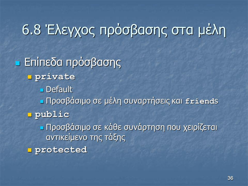 36 6.8 Έλεγχος πρόσβασης στα μέλη Επίπεδα πρόσβασης Επίπεδα πρόσβασης private private Default Default Προσβάσιμο σε μέλη συναρτήσεις και friend s Προσβάσιμο σε μέλη συναρτήσεις και friend s public public Προσβάσιμο σε κάθε συνάρτηση που χειρίζεται αντικείμενο της τάξης Προσβάσιμο σε κάθε συνάρτηση που χειρίζεται αντικείμενο της τάξης protected protected