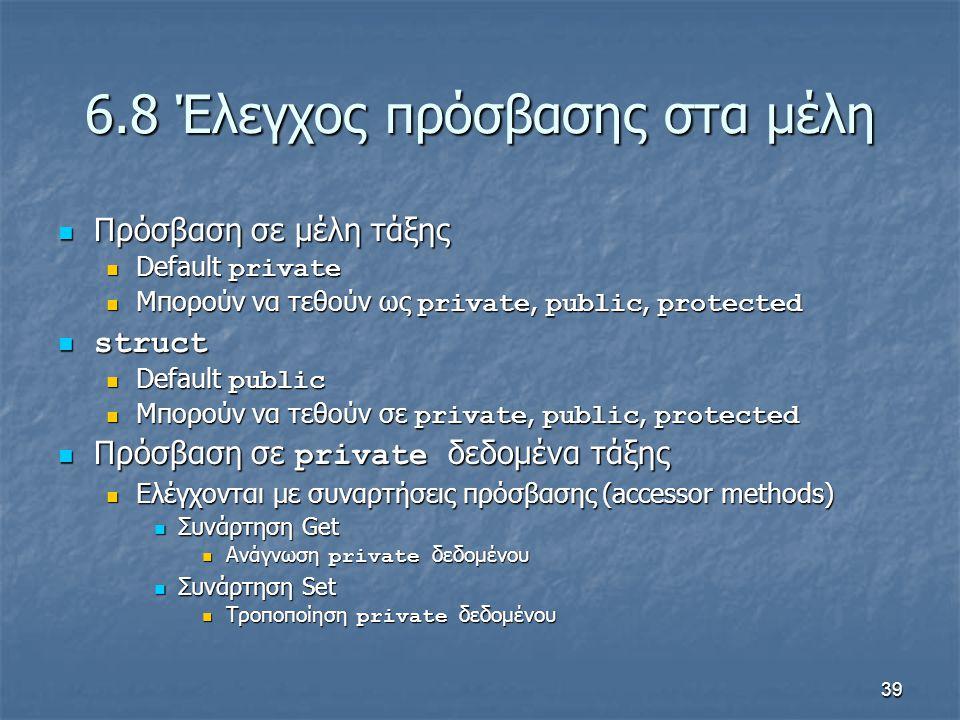 39 6.8 Έλεγχος πρόσβασης στα μέλη Πρόσβαση σε μέλη τάξης Πρόσβαση σε μέλη τάξης Default private Default private Μπορούν να τεθούν ως private, public, protected Μπορούν να τεθούν ως private, public, protected struct struct Default public Default public Μπορούν να τεθούν σε private, public, protected Μπορούν να τεθούν σε private, public, protected Πρόσβαση σε private δεδομένα τάξης Πρόσβαση σε private δεδομένα τάξης Ελέγχονται με συναρτήσεις πρόσβασης (accessor methods) Ελέγχονται με συναρτήσεις πρόσβασης (accessor methods) Συνάρτηση Get Συνάρτηση Get Ανάγνωση private δεδομένου Ανάγνωση private δεδομένου Συνάρτηση Set Συνάρτηση Set Τροποποίηση private δεδομένου Τροποποίηση private δεδομένου