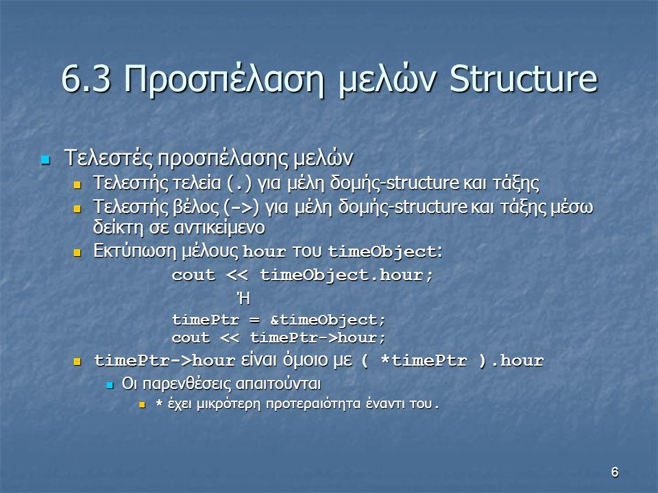 7 6.4 Υλοποίηση τύπου Time με struct από το χρήστη Default: οι δομές-structures περνούν με τιμή Default: οι δομές-structures περνούν με τιμή Πέρασμα με αναφορά Πέρασμα με αναφορά Αποφυγή του overhead για την αντιγραφή δομής Αποφυγή του overhead για την αντιγραφή δομής C-style structures C-style structures Δεν υπάρχει διεπαφή interface Δεν υπάρχει διεπαφή interface Εάν αλλάξει η υλοποίηση, όλα τα προγράμματα που χρησιμοποιούν τη struct πρέπει να αλλάξουν ανάλογα Εάν αλλάξει η υλοποίηση, όλα τα προγράμματα που χρησιμοποιούν τη struct πρέπει να αλλάξουν ανάλογα Δε μπορεί να εκτυπωθεί ως ενιαία μονάδα Δε μπορεί να εκτυπωθεί ως ενιαία μονάδα Κάθε μέλος εκτυπώνεται/διαμορφώνεται χωριστά Κάθε μέλος εκτυπώνεται/διαμορφώνεται χωριστά Δε μπορεί να συγκριθεί συνολικά Δε μπορεί να συγκριθεί συνολικά Πρέπει να συγκριθούν όλα τα μέλη ένα-ένα Πρέπει να συγκριθούν όλα τα μέλη ένα-ένα