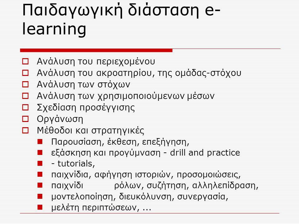 Παιδαγωγική διάσταση e- learning  Ανάλυση του περιεχομένου  Ανάλυση του ακροατηρίου, της ομάδας-στόχου  Ανάλυση των στόχων  Ανάλυση των χρησιμοποιούμενων μέσων  Σχεδίαση προσέγγισης  Οργάνωση  Μέθοδοι και στρατηγικές Παρουσίαση, έκθεση, επεξήγηση, εξάσκηση και προγύμναση - drill and practice - tutorials, παιχνίδια, αφήγηση ιστοριών, προσομοιώσεις, παιχνίδι ρόλων, συζήτηση, αλληλεπίδραση, μοντελοποίηση, διευκόλυνση, συνεργασία, μελέτη περιπτώσεων,...