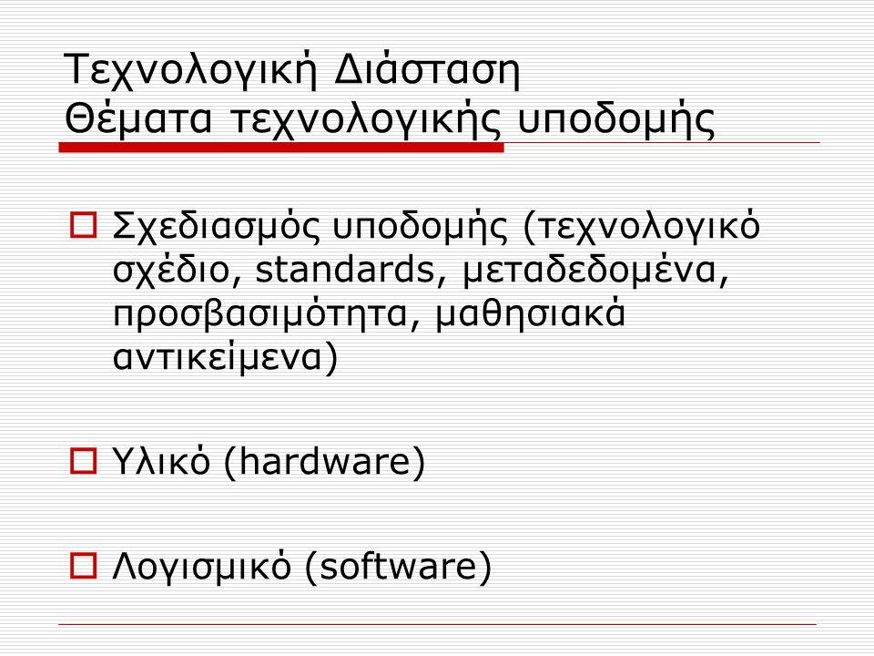 Τεχνολογική Διάσταση Θέματα τεχνολογικής υποδομής  Σχεδιασμός υποδομής (τεχνολογικό σχέδιο, standards, μεταδεδομένα, προσβασιμότητα, μαθησιακά αντικείμενα)  Υλικό (hardware)  Λογισμικό (software)