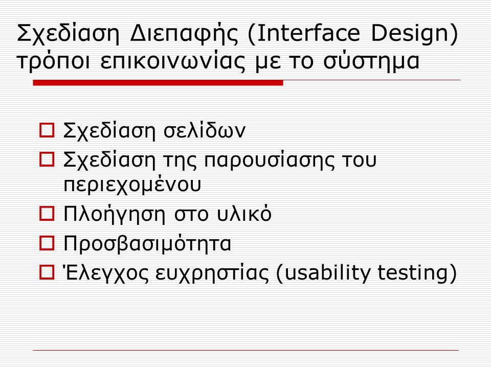 Σχεδίαση Διεπαφής (Interface Design) τρόποι επικοινωνίας με το σύστημα  Σχεδίαση σελίδων  Σχεδίαση της παρουσίασης του περιεχομένου  Πλοήγηση στο υλικό  Προσβασιμότητα  Έλεγχος ευχρηστίας (usability testing)