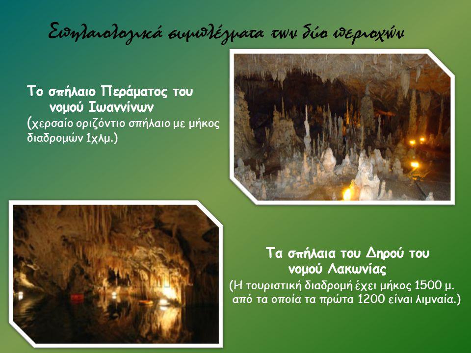 Σπηλαιολογικά συμπλέγματα των δύο περιοχών Το σπήλαιο Περάματος του νομού Ιωαννίνων ( χερσαίο οριζόντιο σπήλαιο με μήκος διαδρομών 1χλμ.) Τα σπήλαια τ