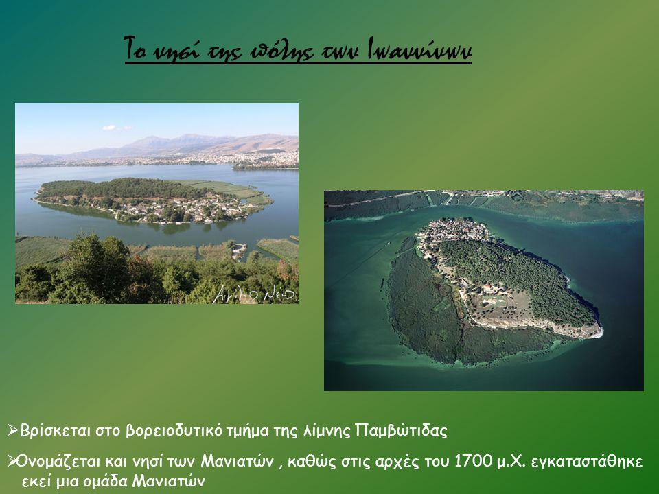 Το νησί της πόλης των Ιωαννίνων  Βρίσκεται στο βορειοδυτικό τμήμα της λίμνης Παμβώτιδας  Ονομάζεται και νησί των Μανιατών, καθώς στις αρχές του 1700