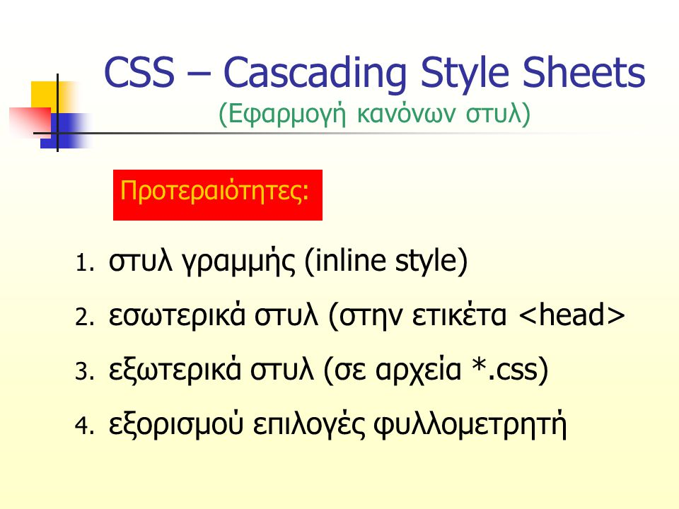 CSS – Cascading Style Sheets (Σύνταξη κανόνων στυλ) επιλογέας {ιδιότητα: τιμή} επιλογέαςτο στοιχείο(α) που θα μορφοποιηθεί ιδιότηταη ιδιότητα που θα αλλάξει (π.χ.